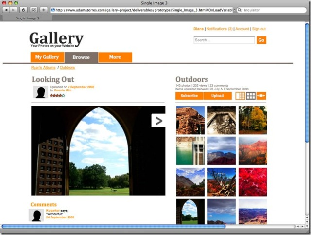 Figure 3: a high-fidelity prototype of the same image gallery. © Copyright 2011 PhotoDev