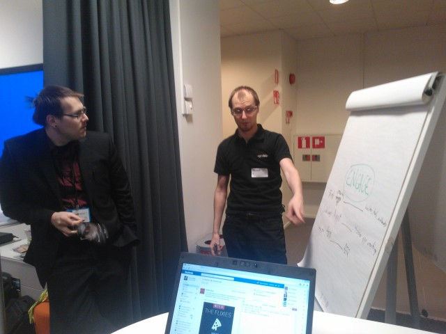 One of the teams sharing ideas about generating apps in our academic networks